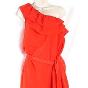 One shoulder orange dress with waist tie